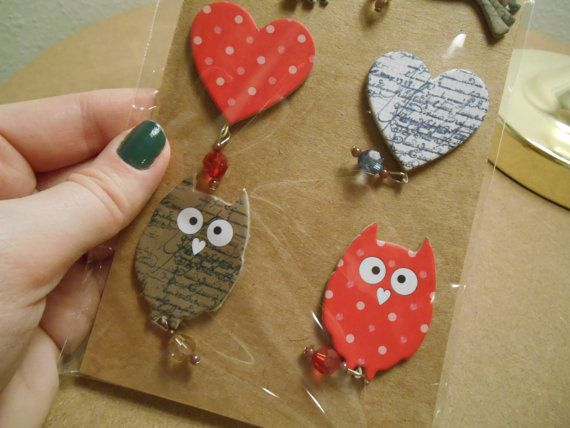 Bird Chipboard Embellishments with Jewels  by SolitarySandpiper, $1.50