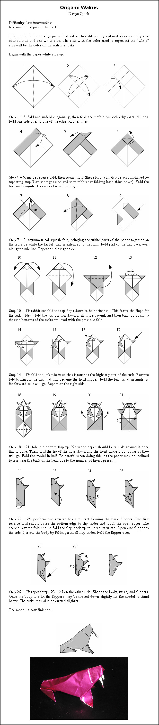 Origami walrus instructions by donyaquickiantart on origami walrus instructions by donyaquickiantart on deviantart jeuxipadfo Images