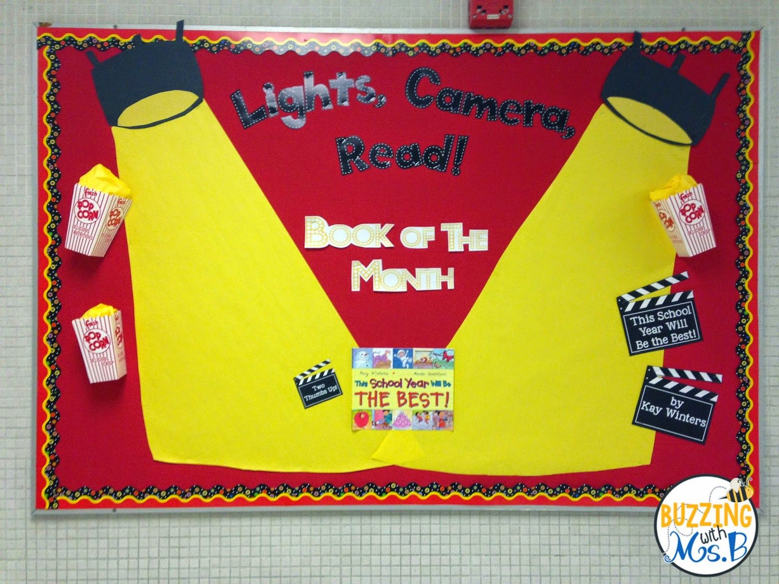 Bulletin board ideas for the month of july - Lights Camera Read Bulletin Board For Book Of The Month