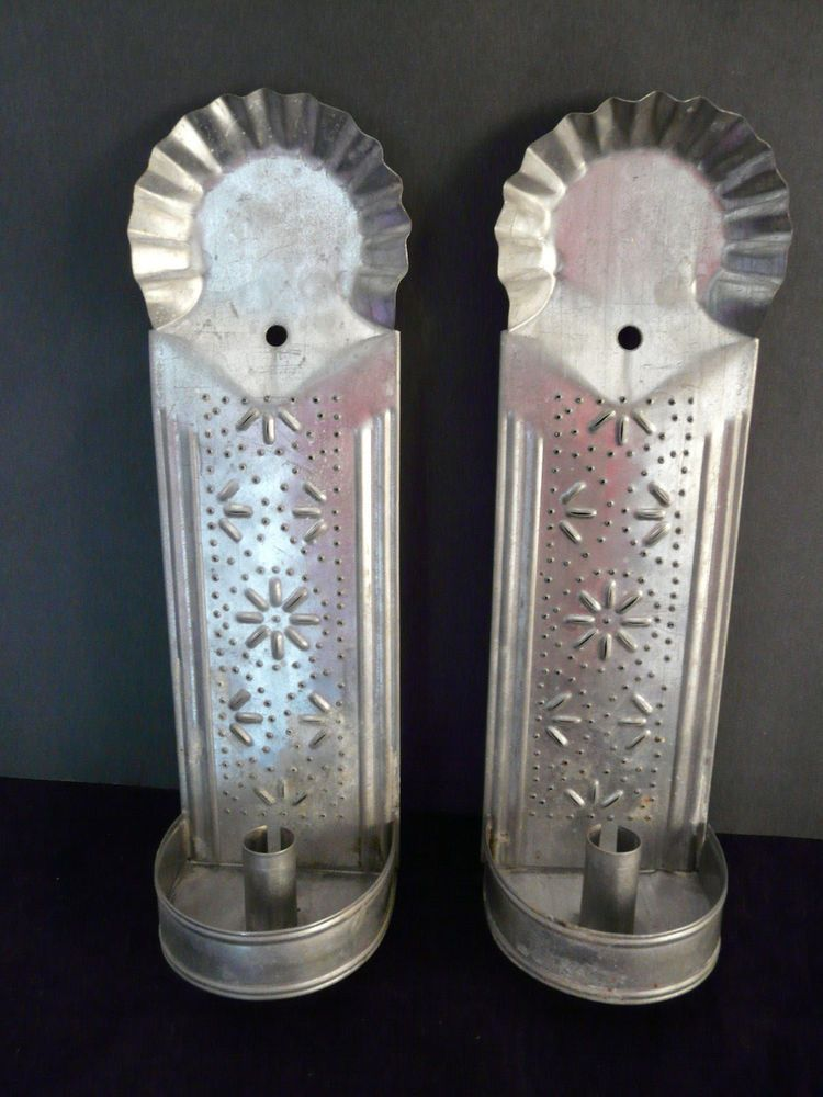 Farmhouse rustic punched tin candle holder wall sconces