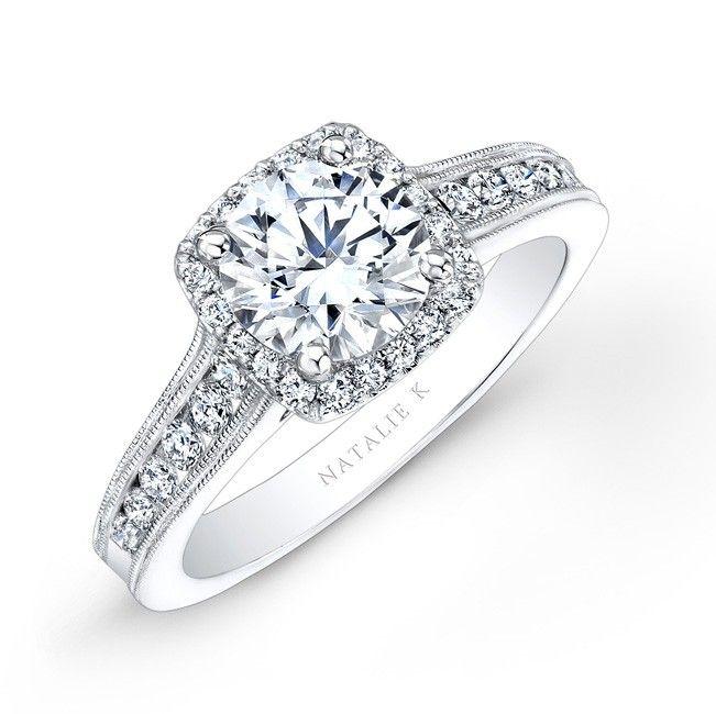 14k White Gold Pave Halo Diamond Engagement Ring with Milgrain  NK25683-W  #diamond #ring #engagement #wedding
