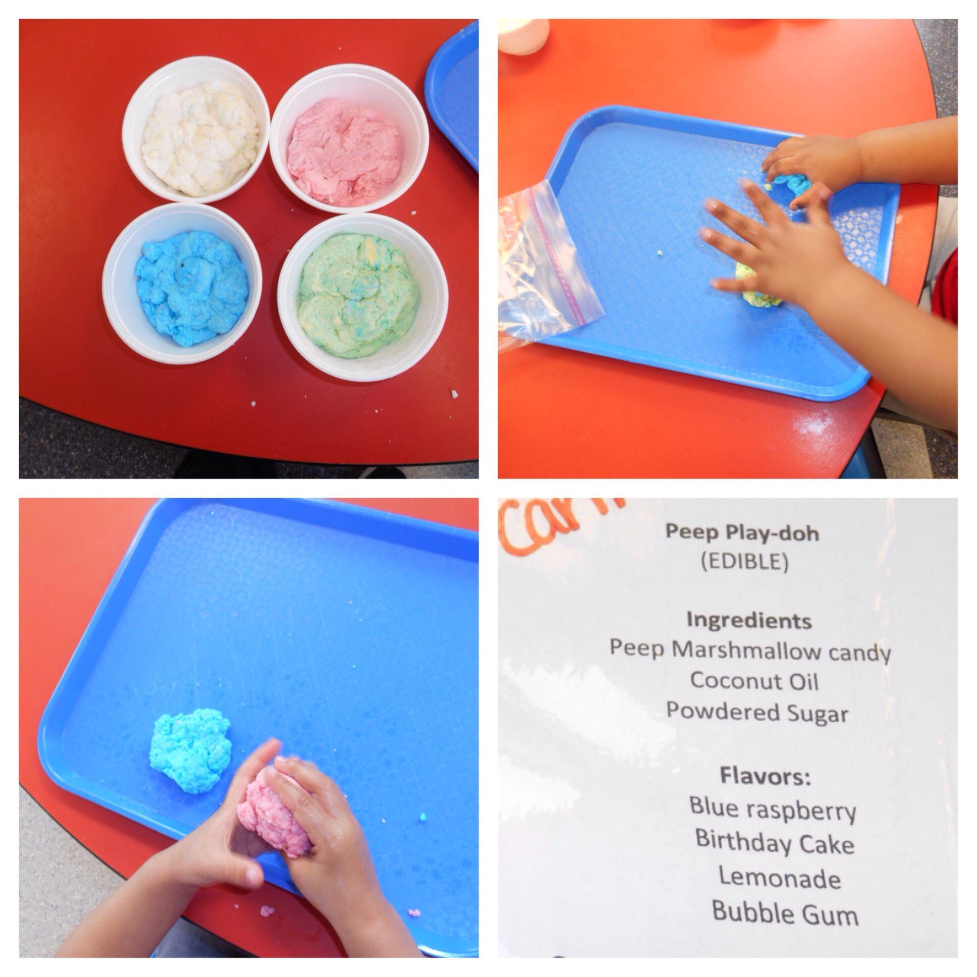 Peep playdoh: coconut oil, powdered sugar, blue raspberry peeps, lemonade peeps, birthday cake peeps and bubble gum peeps