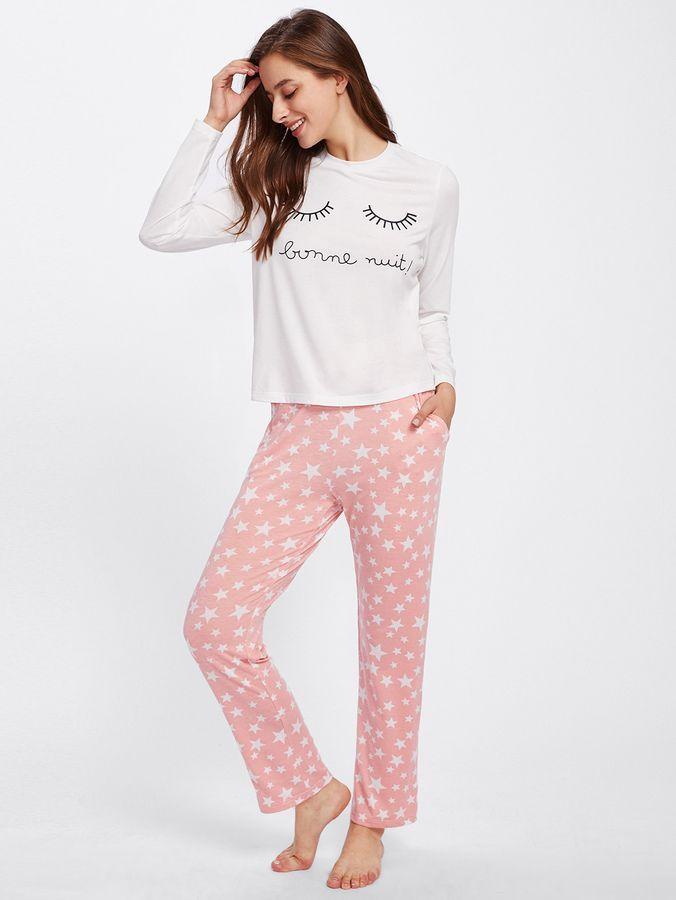 715380dc80b28 Eye Print Top & Star Print Sweatpants Pajama Set | Products | Pajama ...
