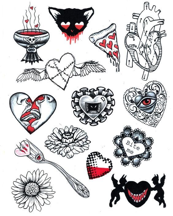 Valentine 39 s day flash sheet beaver tattoo flash for Valentine s day tattoos
