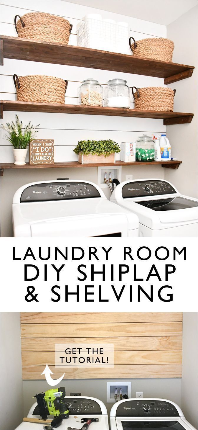Laundry Room Shiplap and DIY Wood Shelves - Easy Tutorial #laundryrooms