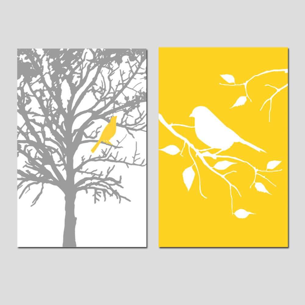 Set of Two 13x19 Prints - Birds and Trees - Perfect for Bathroom ...