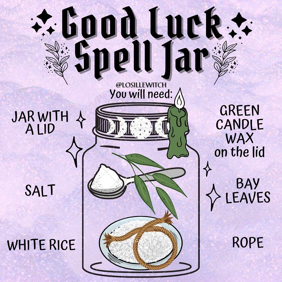 """Losille's Coven 🔮✨ on Instagram: """"Good Luck Spell Jar 🍀🔮✨ Use it to bring you luck, banishing negative energy and at…   Good luck spells, Luck spells, Jar spells"""