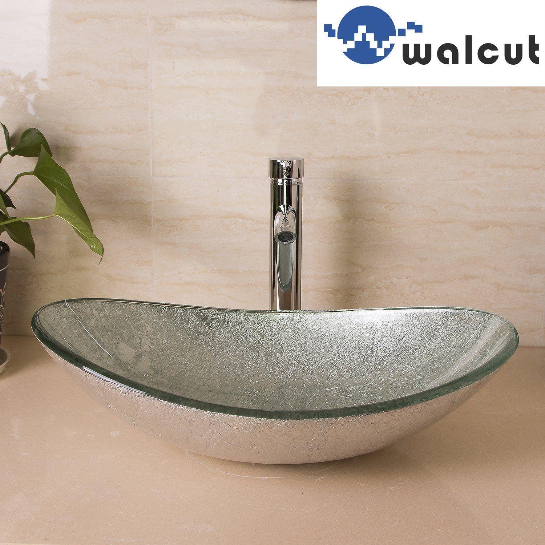 WALCUT Bathroom Modern Oval Artistic Glass Vessel Sink W/ Chrome ...