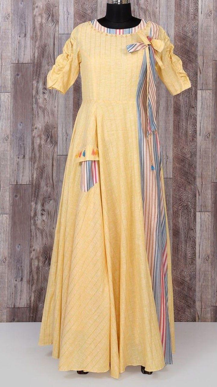 Beautiful silk long kurti dress with brilliant detailing and western