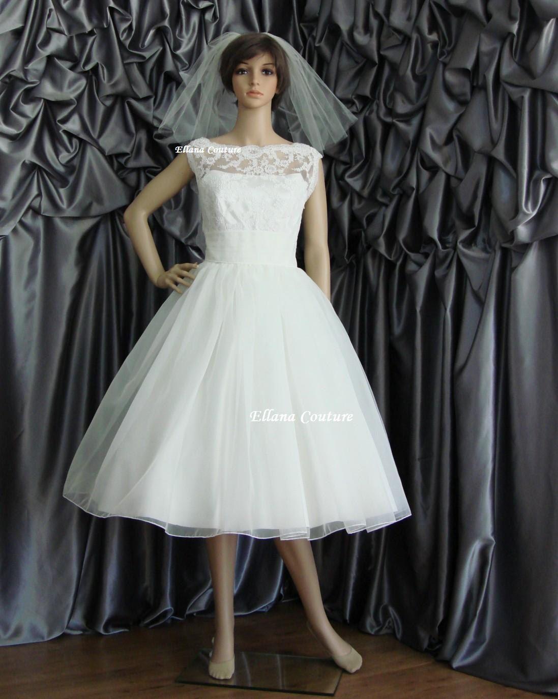 Wedding dresses tea length  Sandra  Beautiful Vintage Inspired Tea Length Wedding Dress