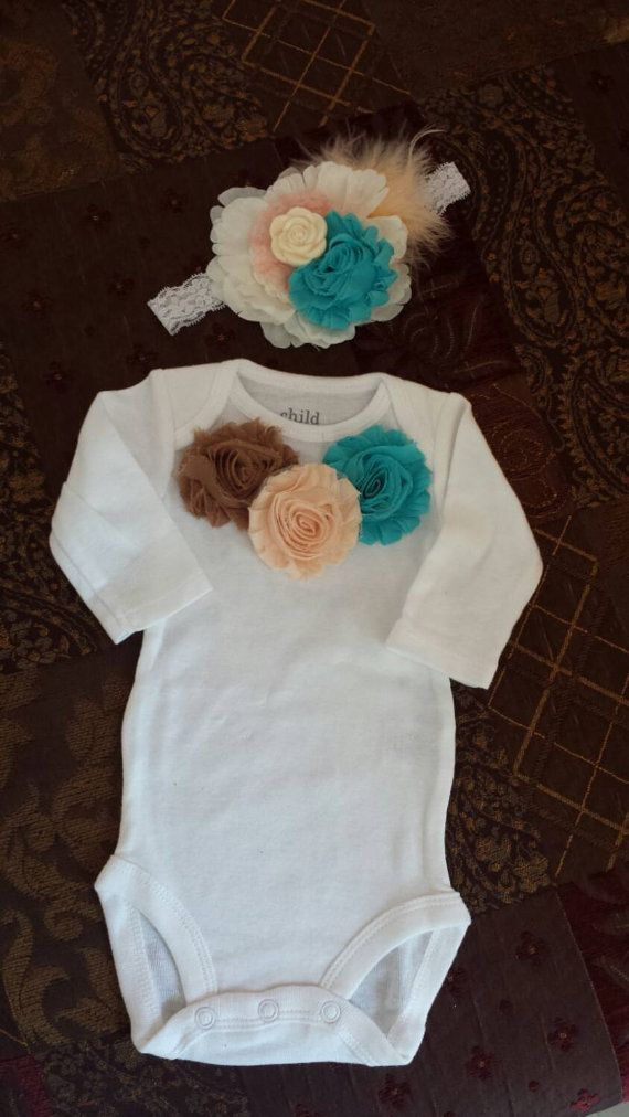 Baby Girl . 2 PIECES . Turquoise and Brown by SOSBoutiqueandBeyond