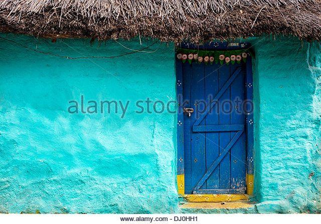 front house door texture. Thatched Indian House Wooden Front Door. Andhra Pradesh, India - Stock Image Door Texture