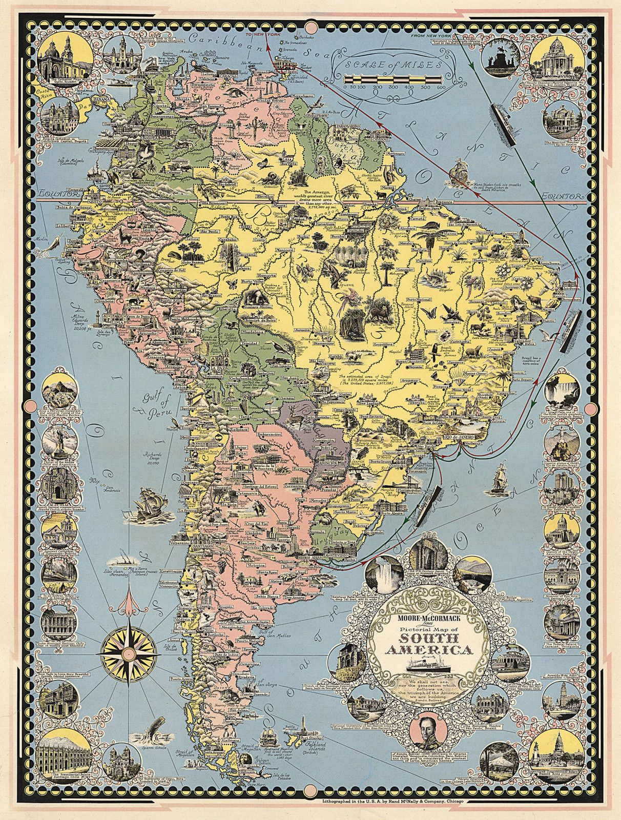 Midcentury Pictorial Map Cruise Routes New York to South America ...