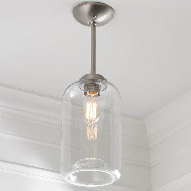 Convertible Cylinder Glass Semi Flush Pendant Light Pendant