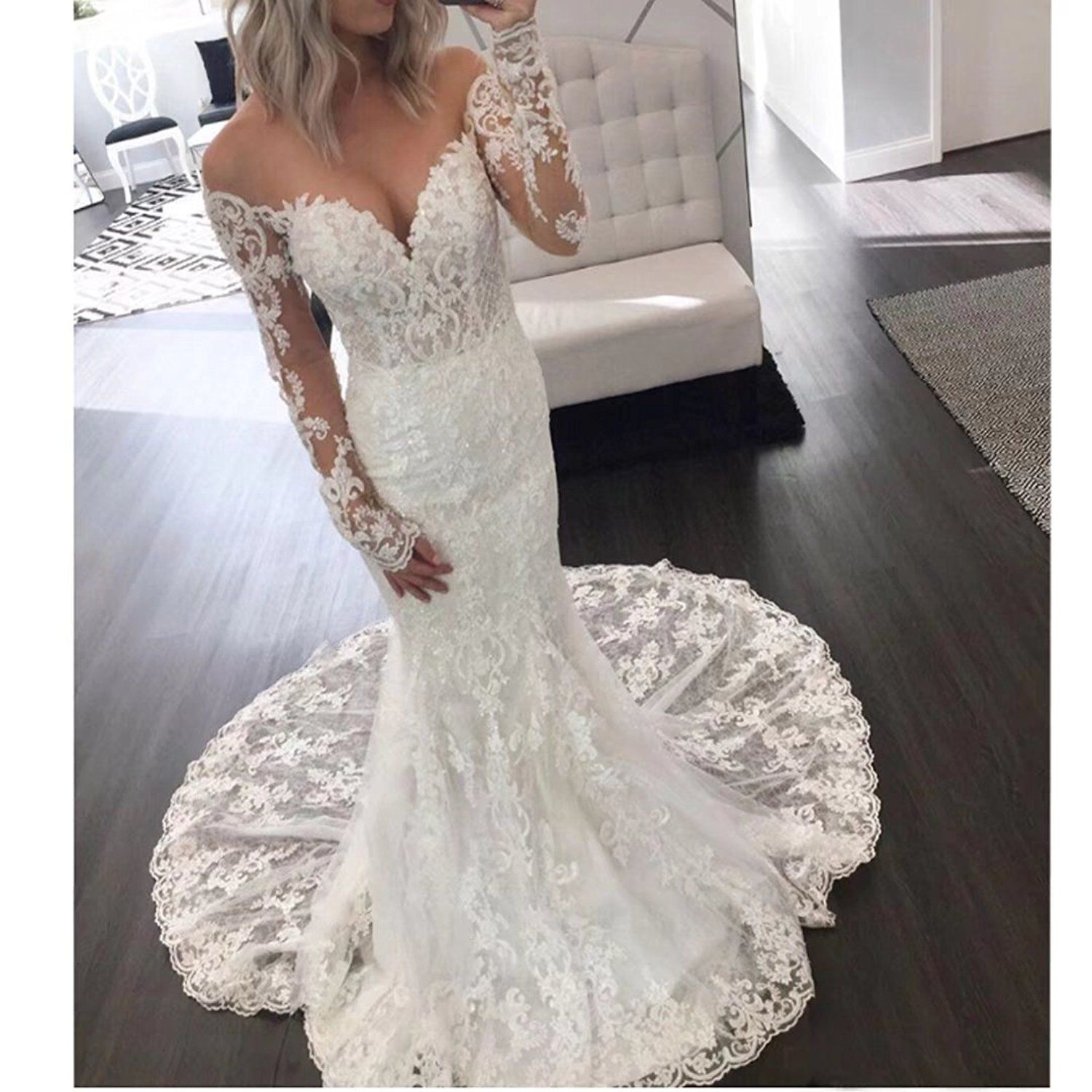 Dingdingmail Illusion Long Sleeve Lace Mermaid Wedding Dr Long Sleeve Wedding Dress Lace Long Sleeve Wedding Dress Lace Mermaid Lace Wedding Dress With Sleeves,Pretty Black Dresses For A Wedding