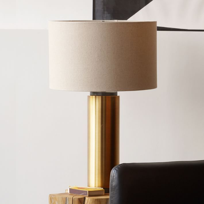 Pillar table lamp antique brass