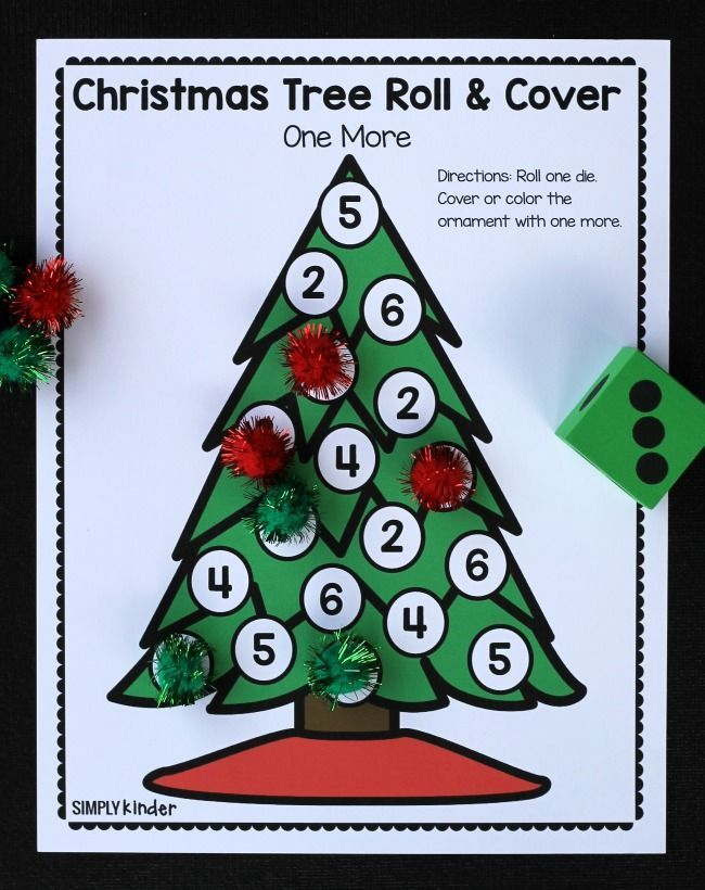 Christmas Tree Roll & Cover Christmas Math Games | Pinterest | Free ...