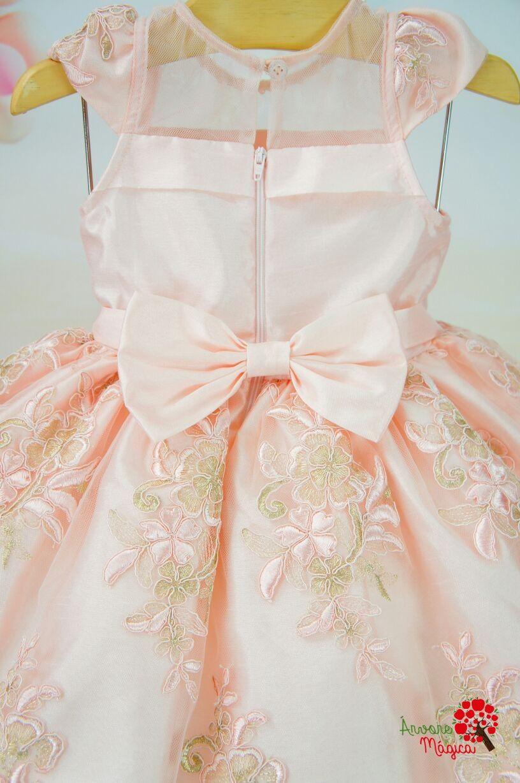 7e96595969f Vestido Infantil de Festa Rosa Chá Bordado Luxo Petit Cherie