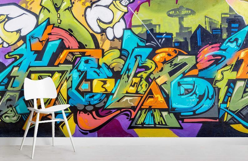 3d Abstract Letters Green Graffiti Wallpaper Removable Self Adhesive Wallpaper Wall Mural Vintage Art Peel And Stick Graffiti Wallpaper Graffiti Wall Mural Wallpaper