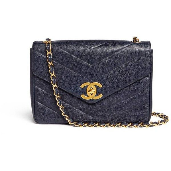 Vintage Chanel Jumbo chevron quilted caviar leather flap bag (425,780 INR) ❤ liked on Polyvore featuring bags, handbags, shoulder bags, blue leather shoulder bag, blue leather handbags, blue shoulder bag, quilted leather purse and leather shoulder handbags