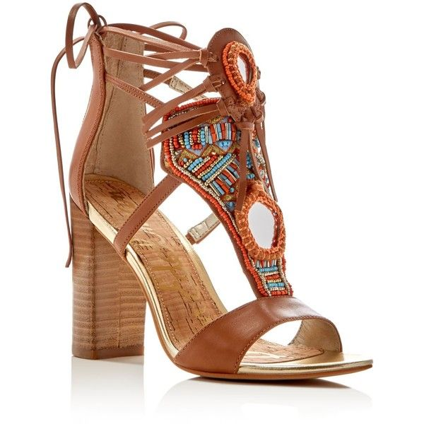 c41e2422a2e Sam Edelman Yvette Embellished Ankle Tie High Heel Sandals ( 185) ❤ liked  on Polyvore featuring shoes