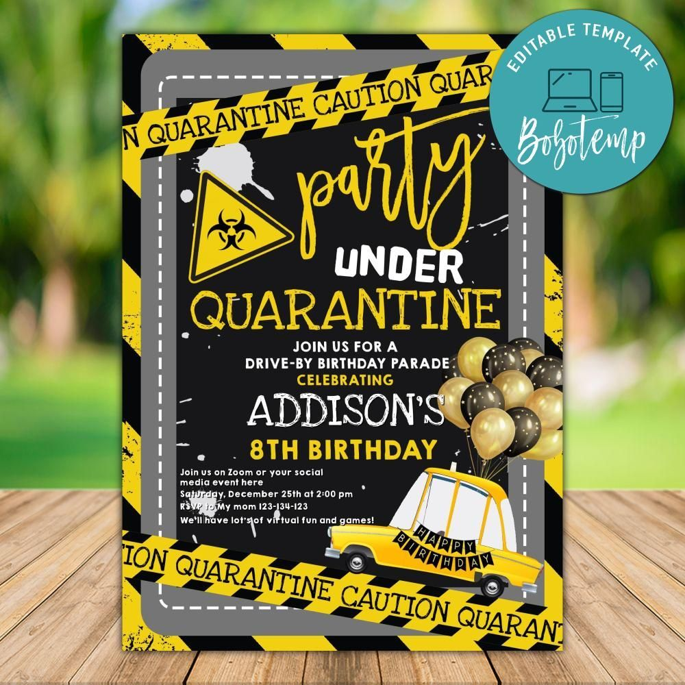 Customizable Social Distancing Party No One Invited Template Diy Bobotemp Happy Birthday Signs Birthday Invitation Templates Custom Birthday Invitations
