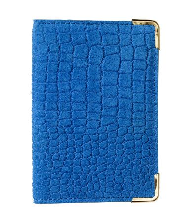 Premium quality suede passport holder in a bright blue snakeskin print with gold-tone hardware detail for the ultimate fashionable jet-setter! | H&M Gifts