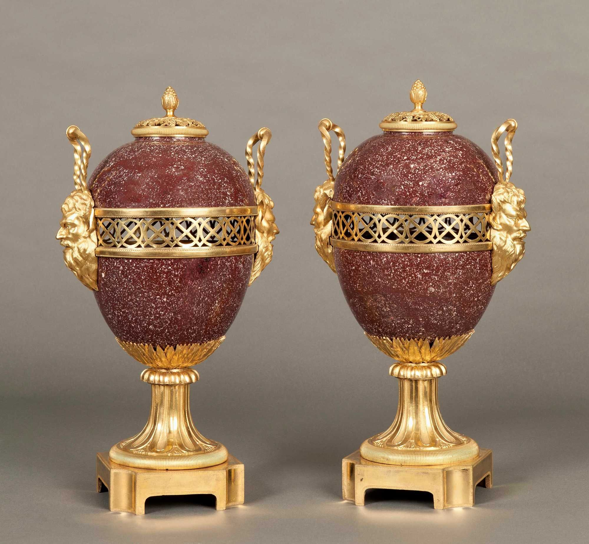 Decorative Urns Vases A Pair Of Antique Porphyry Vases Mounted In Finely Cast And Chased