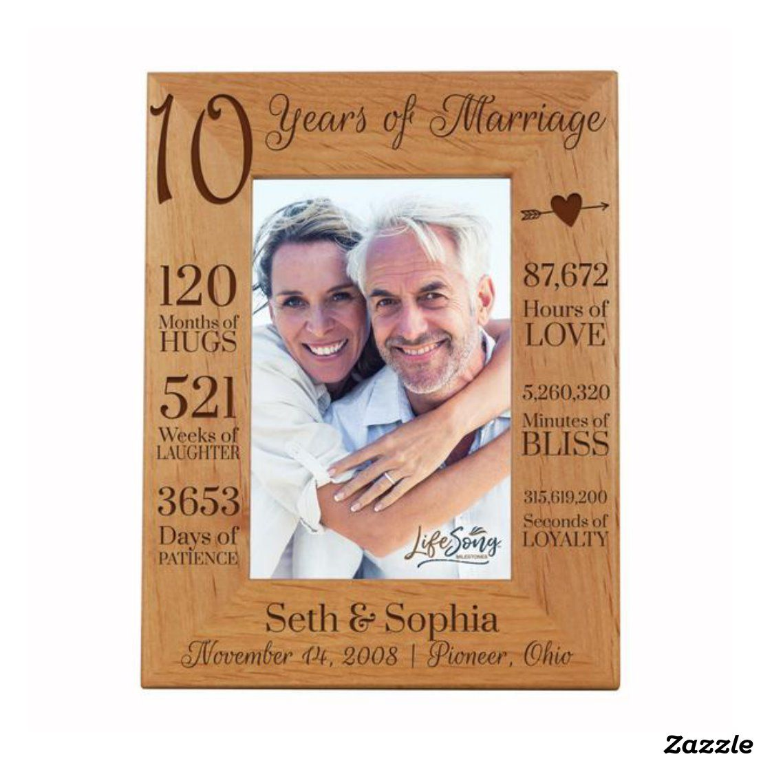 120 Months Of Hugs 10th Anniversary Picture Frame Zazzle Com In 2020 Anniversary Pictures 10 Year Anniversary Gift Anniversary Frame