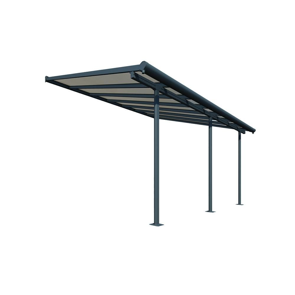 Palram Sierra 10 Ft X 14 Ft Gray Bronze Patio Cover Awning 705329 The Home Depot Covered Patio Deck Awnings Patio