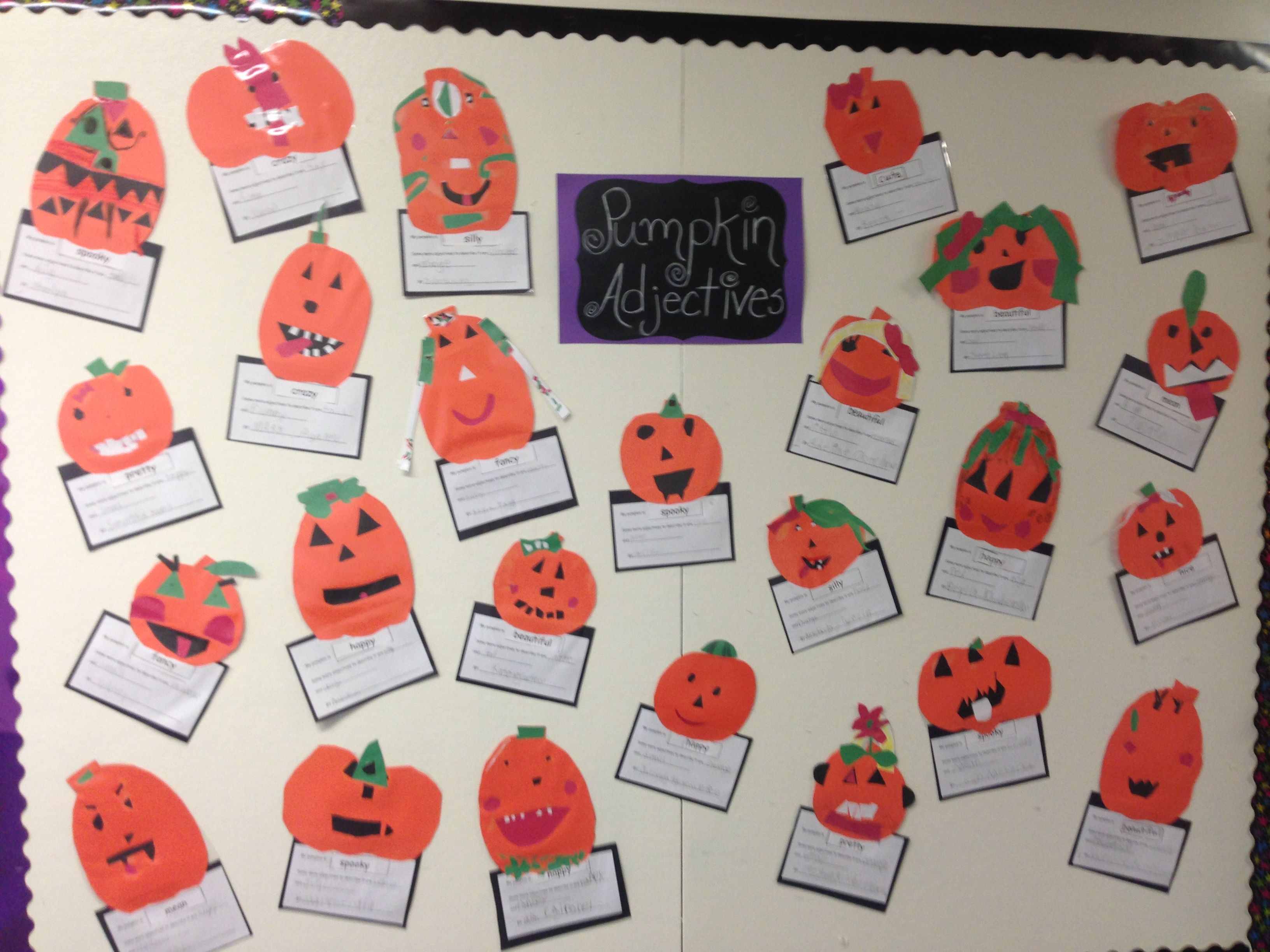 Pumpkin Adjectives Bulletin Board