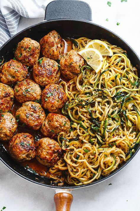 Garlic Butter Meatballs with Lemon Zucchini Noodles - This easy and nourishing skillet meal is absolutely fabulous in every way imaginable! #PaleoDinnerZoodles #recipeshamburgermeat