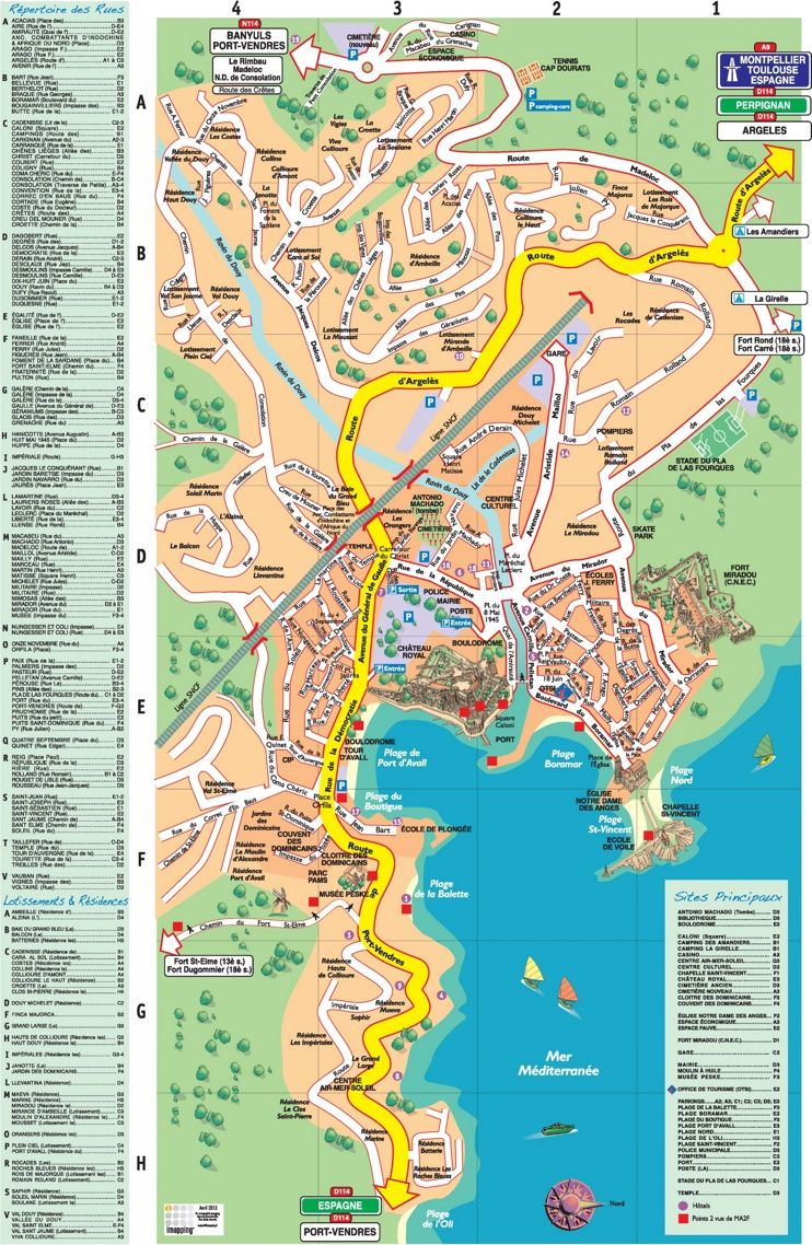Collioure tourist map Maps Pinterest Tourist map France and City
