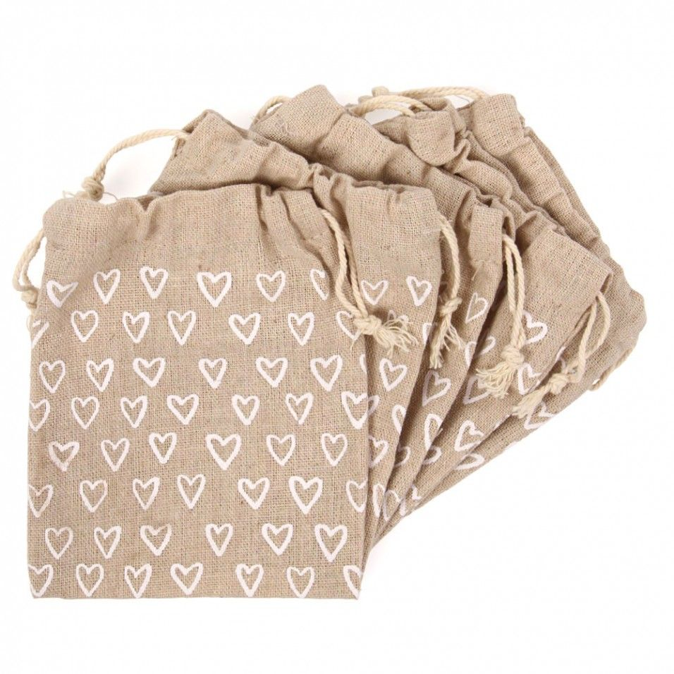 Ditsy Heart Hessian Wedding Favour Bags Pack Of 10