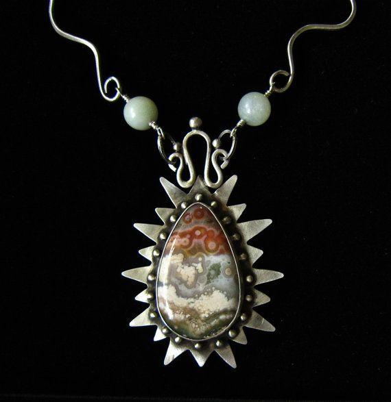 Vintage handmade calla lilly organic silver brooch--jasper stone?
