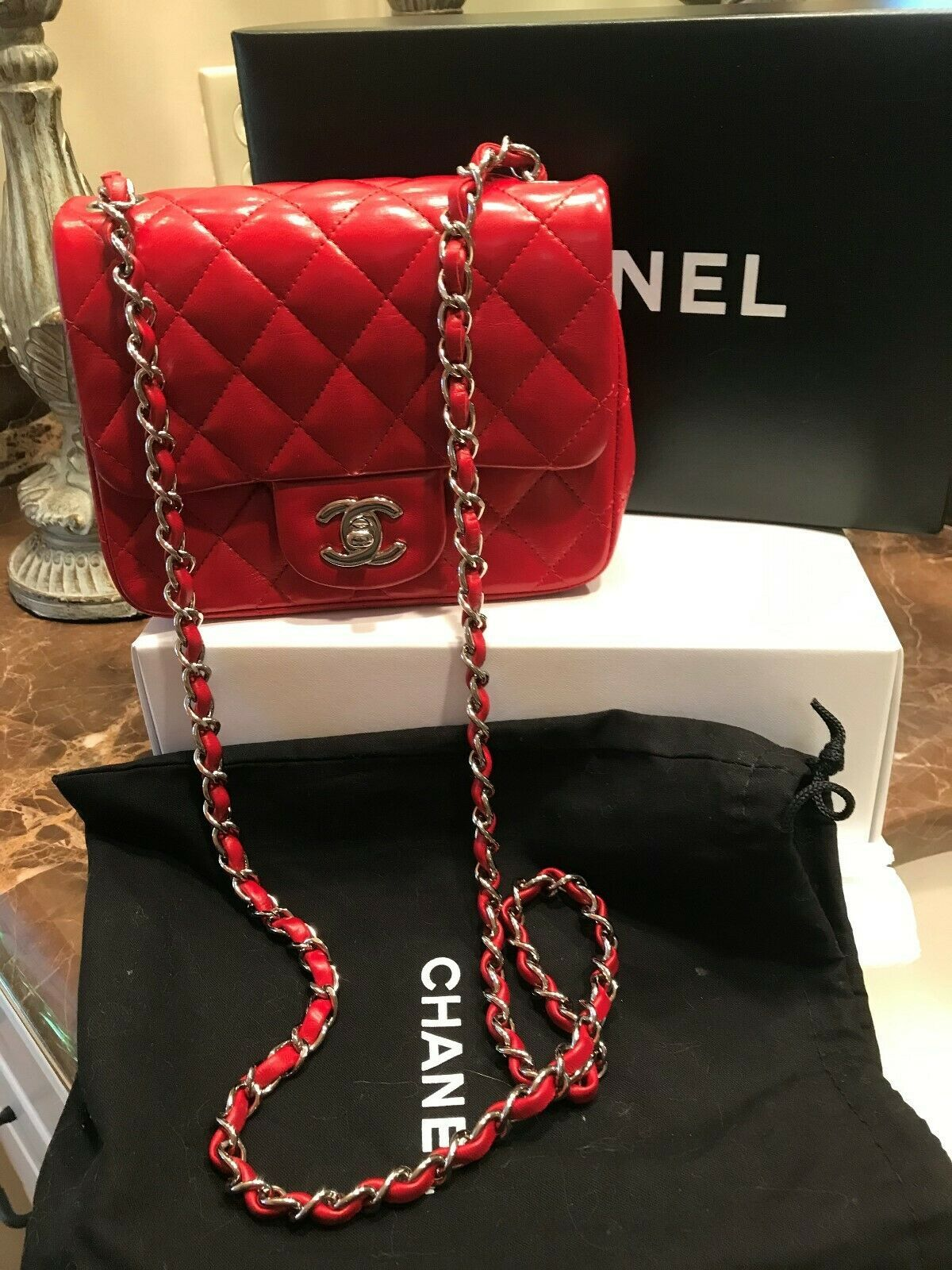 Chanel Mini Classic Flap Red Quilted Leather Bag silver