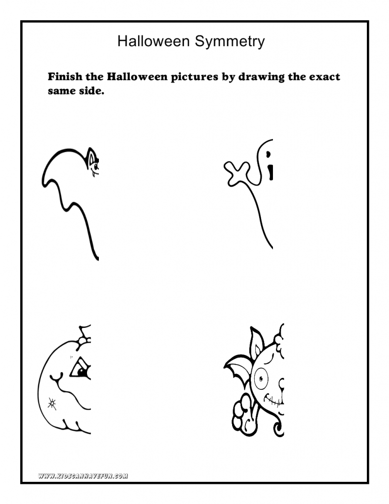 Worksheets Halloween Printable Worksheets halloweensymmetry 791x1024 halloween worksheets math symmetry tracing cut and paste
