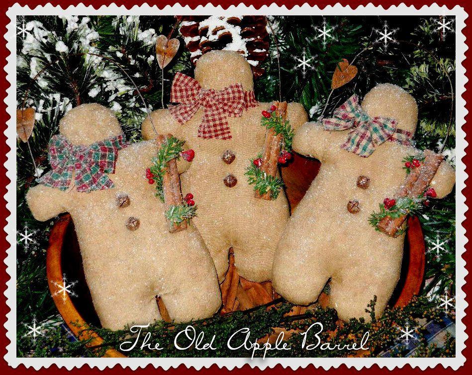 Primitive Gingerbread Christmas Ornaments Bowl Fillers