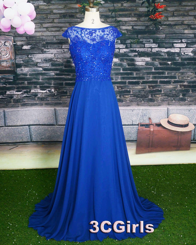 Prom dress cute royal blue lace chiffon cap sleeve backless