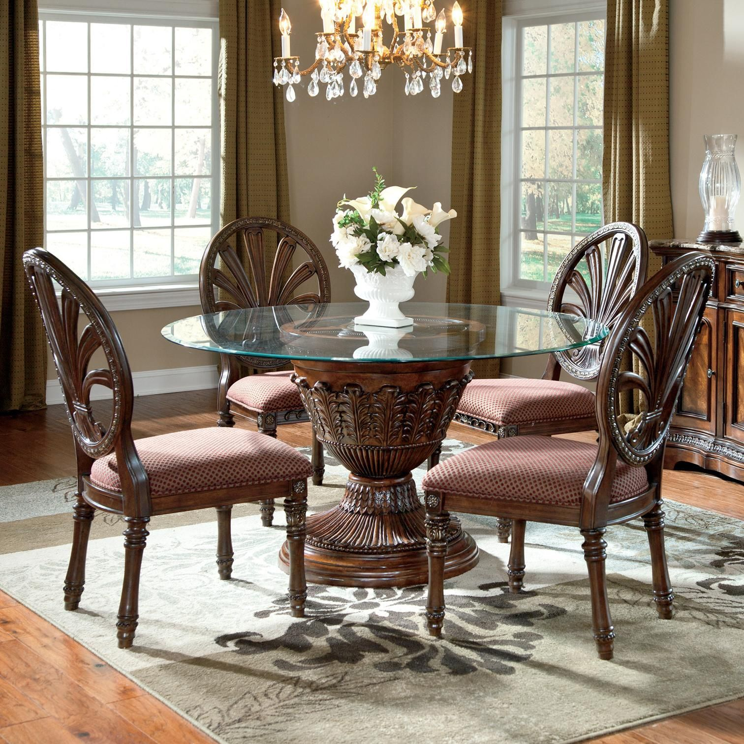 Ledelle 5 Piece Glass Top Table Set By Ashley Millennium Sold At Royal Furniture In Memphis Round Dining Room Sets Round Dining Table Sets Round Dining Room