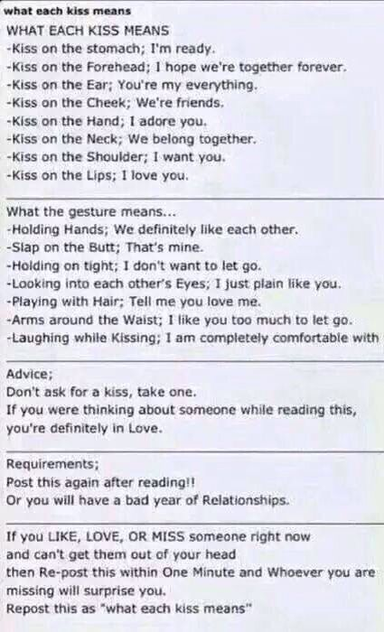 What each kiss means   Kiss meaning, Crush quotes, Relationship quotes