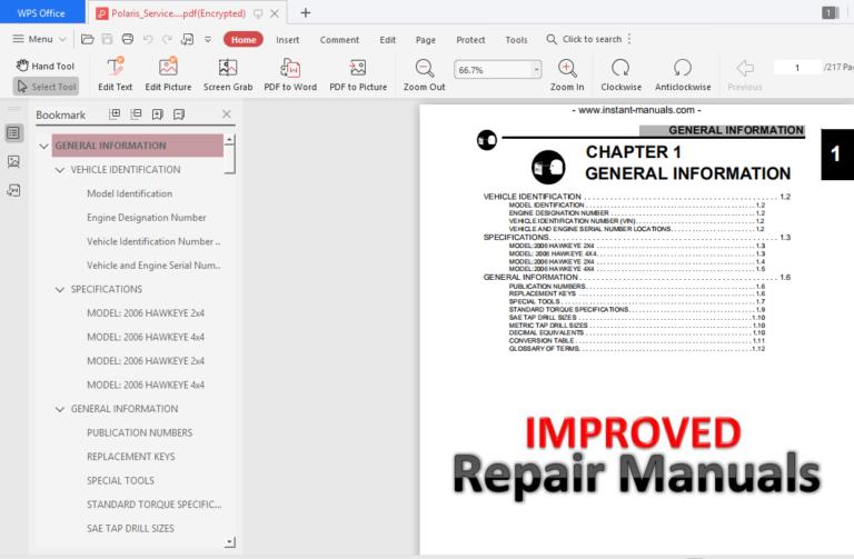 Polaris Service Repair Manual Atv Hawkeye 300 2 4 4 4 2000 2009 Pdf Download In 2020 Repair Manuals Repair Ignition Timing