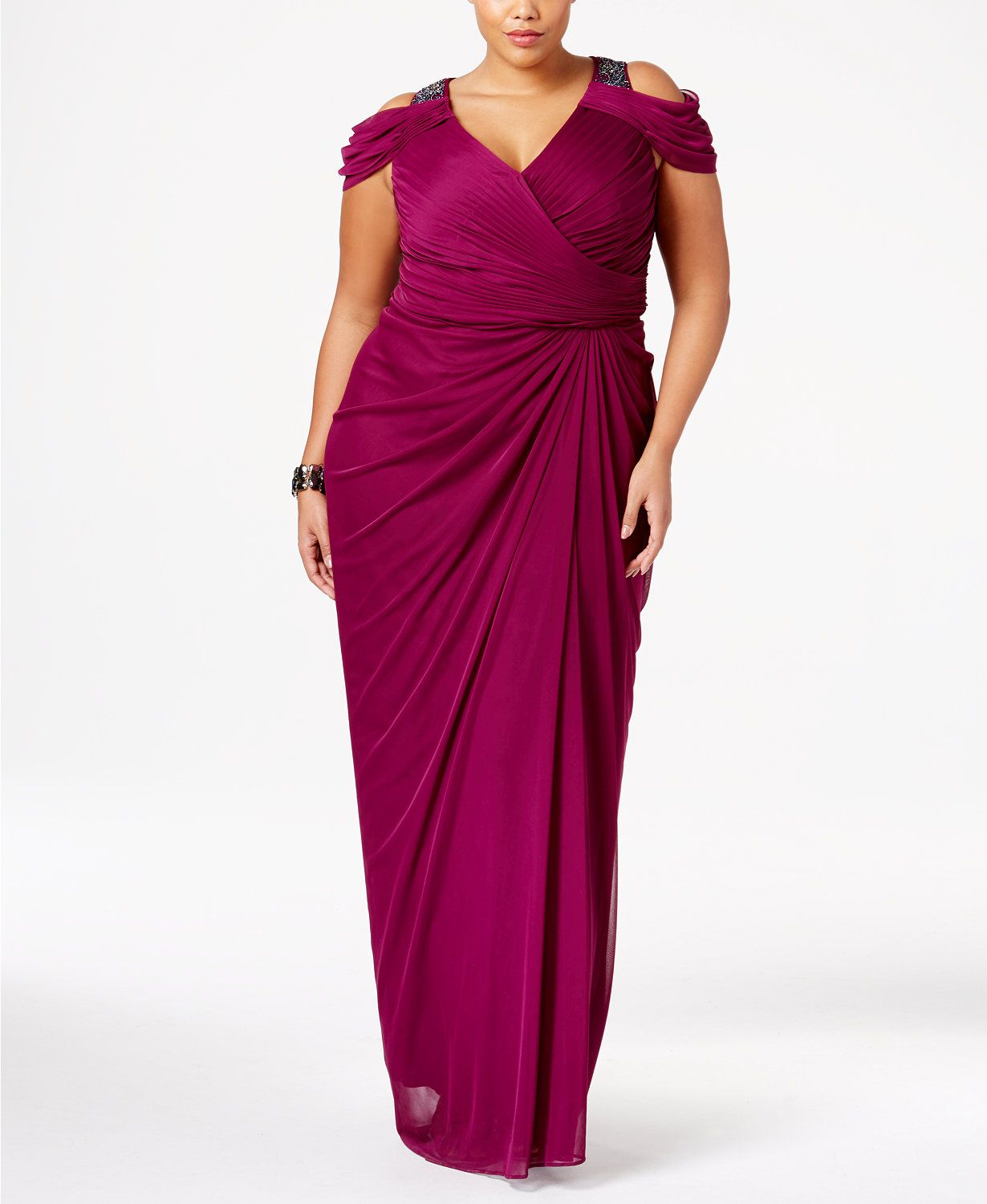 Adrianna Papell Plus Size Beaded Cold-Shoulder Gown | macys.com ...