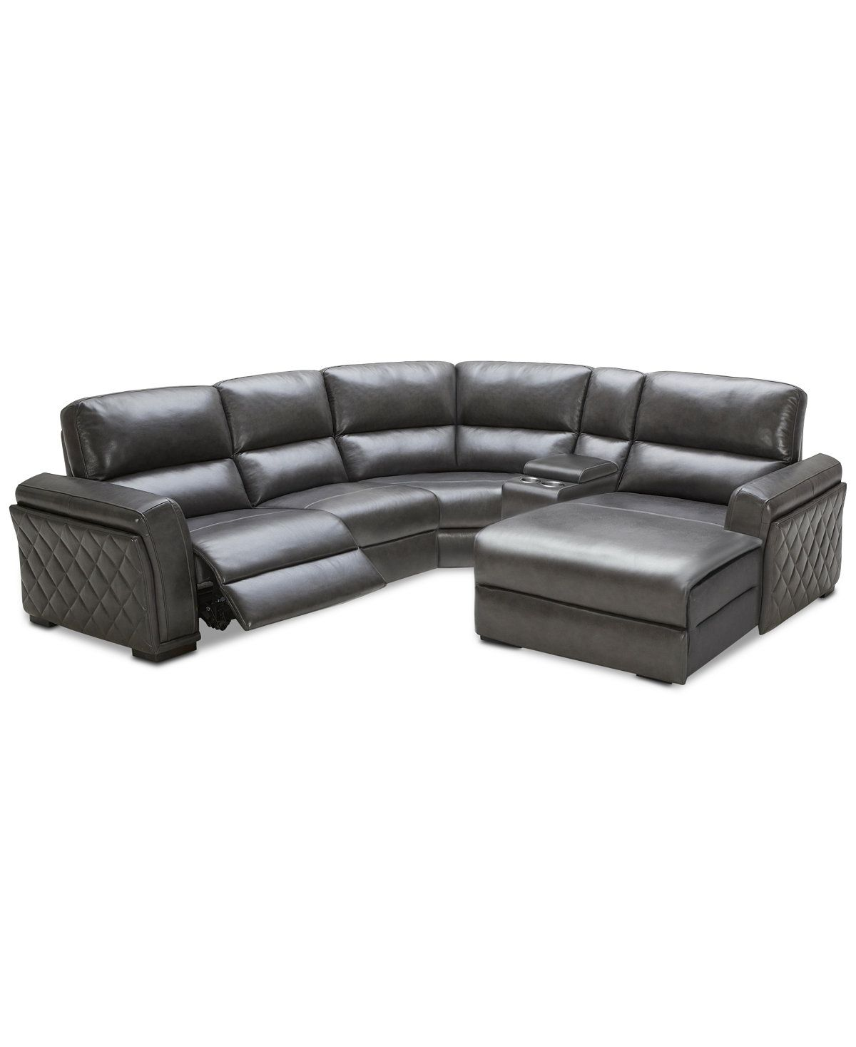 Jessi 5 Pc Leather Sectional Sofa With Chaise, Center Console And 1 Power  Recliner, Created For Macyu0027s