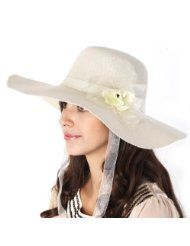 Luxury Lane Womens White Floppy Flower Sun Hat with Chin Tie ... 1ae4db30807