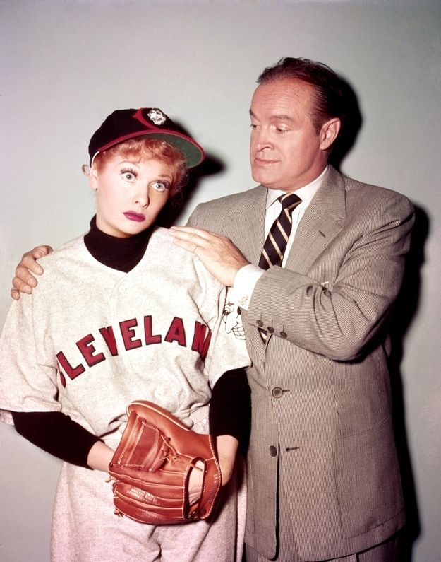"On set photo with Bob Hope from ""Lucy Meets Bob Hope"" episode (1956). 