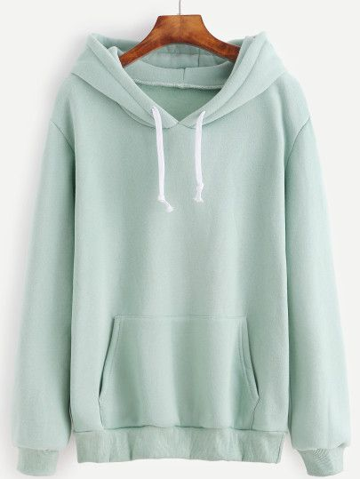 Light Green Drawstring Hooded Pocket Sweatshirt