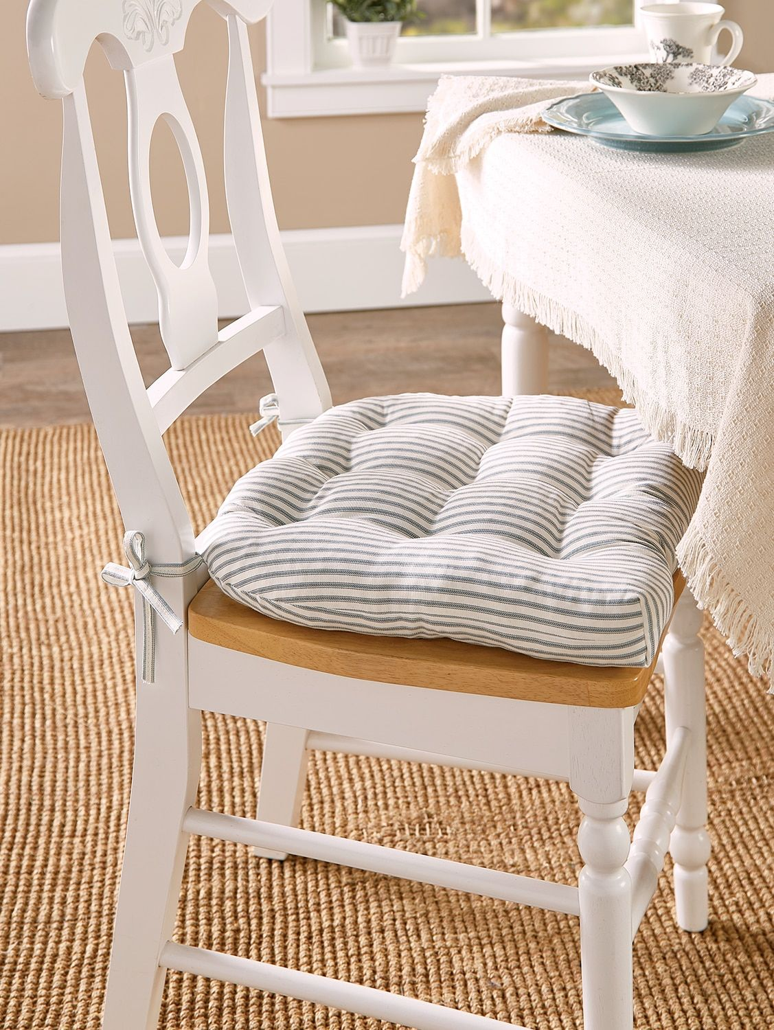 Never Flatten Chair Pad In 2 Sizes In 2021 Kitchen Chair Cushions Dining Chair Pads Dining Room Chair Cushions
