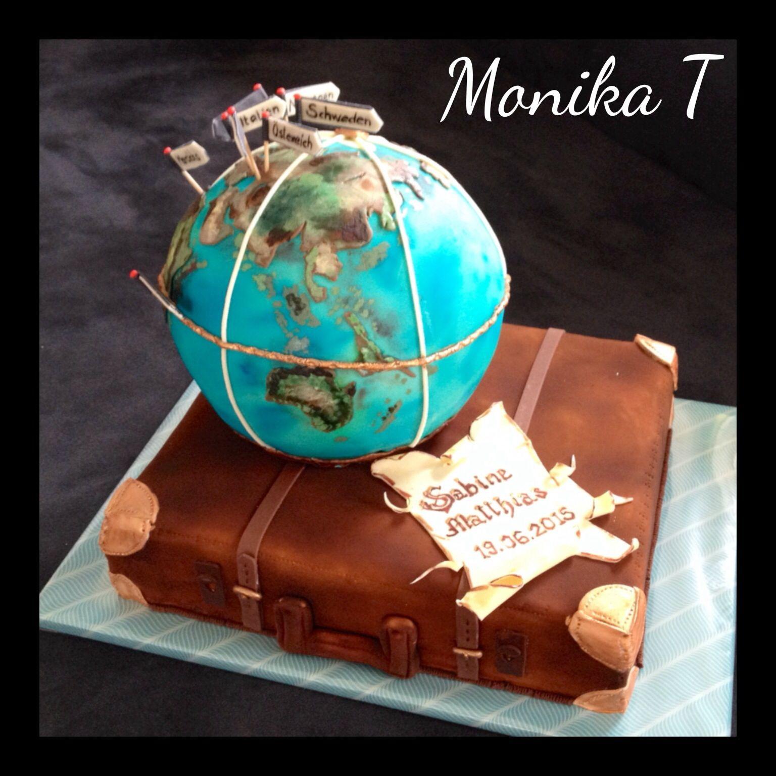Globus Torte Motivtorte Fondant Torte Koffer Kuchen Globus Kuchen Hochzeitstorte Urlaub