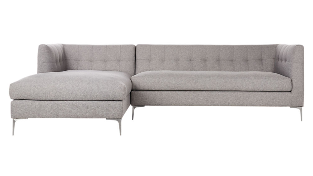 Holden 2 Piece Grey Tufted Sectional Loveseat In 2020 Tufted
